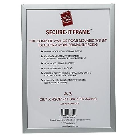 PASFA3B de Aluminium Argenté Poster (30x 42cm) A3certificat Cadre photo d'affichage avec non avant en verre. Top Drop en chargement