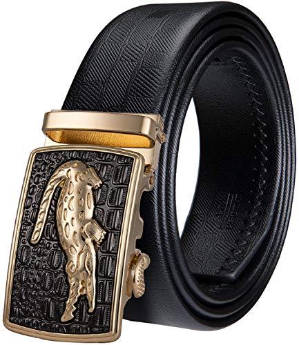 YOHOWA Hombres Cinturón Conjunto, Oro Automático Trinquete Hebilla Cocodrilo Negro Cintura Cinturón No Agujeros Novedad para Vaquero Regalo Caja