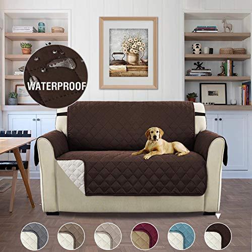 H.versailtex copridivano 2 posti impermeabile divano protector mobili coperture su due lati per cani/gatti letto con divano slipcovers 190 x 116cm, cioccolato