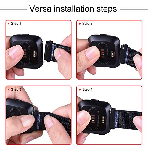CellFAther Nylon Sport Strap Replacement with Velcro Connector Wristband for Fitbit Versa Fitness Smartwatch (Black/White)