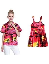 1649cc245 Matching Madre Hija Hawaiano Luau Equipo Señora Camisa Niña Vestido PW  Puesta de sol roja