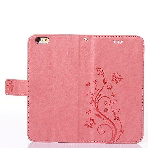 """MOONCASE iPhone 6S Plus Hülle Blume Premium PU Leder Schutzhülle für iPhone 6 Plus / 6S Plus 5.5"""" Bookstyle Tasche Schale TPU Case mit Standfunktion Rosa -Rosa"""
