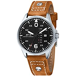 Avi-8 Men's Hawker Harrier II Quartz Watch with Black Dial Analogue Display and Brown Leather Strap AV-4003-02