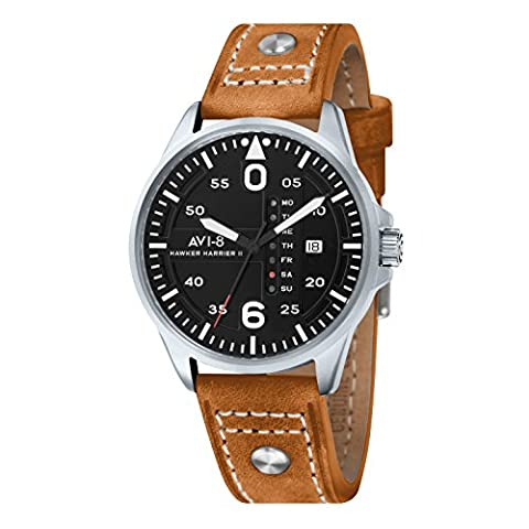 Avi-8 Men's Hawker Harrier II Quartz Watch with Black Dial Analogue Display and Brown Leather Strap