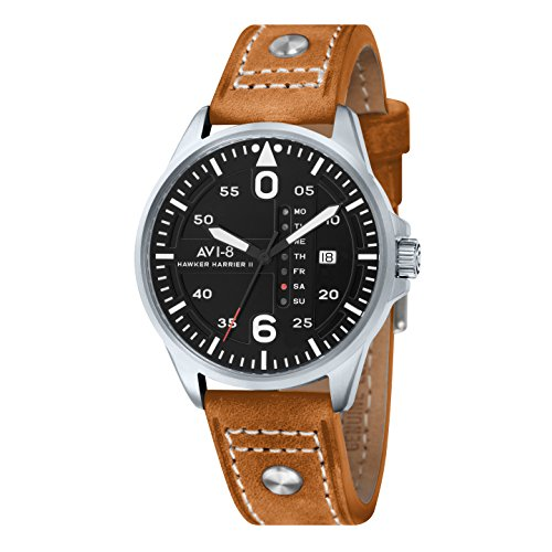 avi-8-mens-hawker-harrier-ii-quartz-watch-with-black-dial-analogue-display-and-brown-leather-strap-a