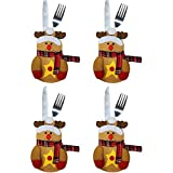 4pcs Table Dinner Silverware Holders Pockets Knifes Forks Tableware Bags Xmas Sets Christmas Party Decoration for Kitchen Restaurant Dining Room Cutlery Suit Decor (Elk)