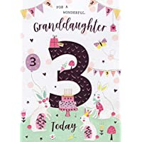 to A Wonderful Granddaughter On Your 3rd Large Birthday Card Age Three