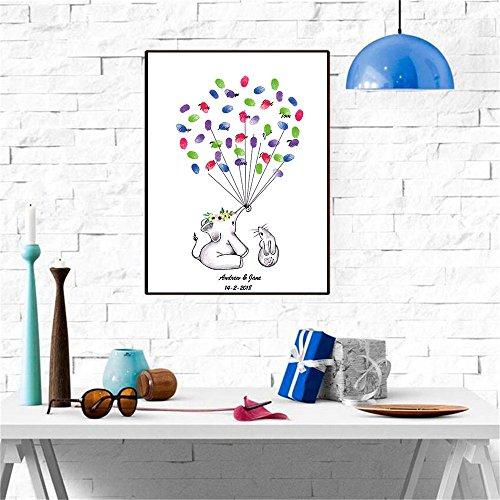 CXQWAN DIY Fingerabdruck Unterschrift Dekorative Malerei Cartoon Elefant Kinder Geburtstag Feier Party Party Dekoration Wandbild Leinwand,30x40cm