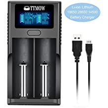 TTMOW Li-ion Cargador de Batería con 2 Ranuras Inteligente y Pantalla LCD, Litio 3.7V Compatible Rápido con : 26650, 17500, 18650, 16340, 14500, 10440 de Cargador de Batería