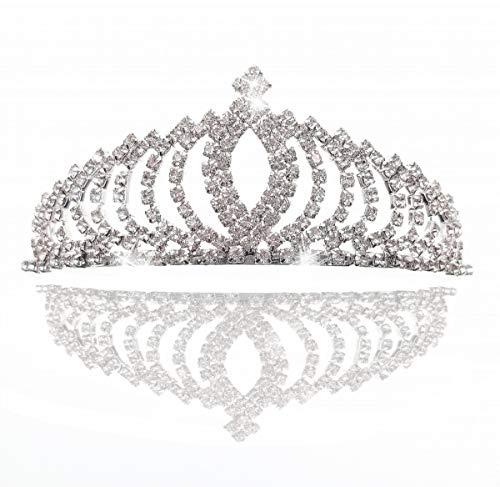 JZK Silber Prinzessin Krone kristall Königin Diadem Strass Braut Brautjungfern Tiara, Metall Stirnband für Hochzeit Geburtstag Prom Erwachsene Party ()