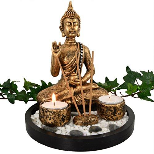 Buddha Räucherset in bronze mit Dekosteinen Feng Shui Deko ohne Räucherstäbchen