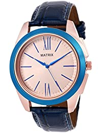 Matrix Analog Rose Gold Color Case & Dial, Blue Leather Strap Men & Boys Watch - (WCH-274)