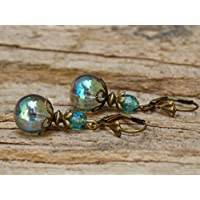 DIE LETZTEN!!!!! Vintage Ohrringe mit Glasperlen - seegrün & bronze