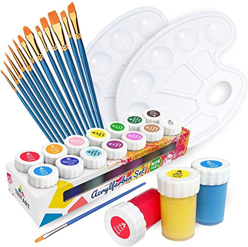 Tritart Acrylfarben Set für Kinder und Erwachsene mit 12 Pinsel und 2 Mischpaletten | 14er Acryl Farbset | Malset Acryl Komplett Set