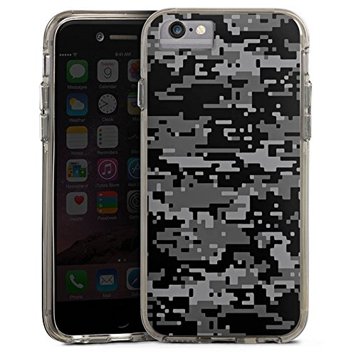 Apple iPhone 5 Bumper Hülle Bumper Case Schutzhülle Pixel Camouflage Tarnmuster Bumper Case transparent grau