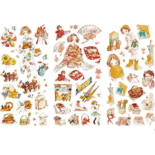 CAOLATOR Deko Sticker Aufkleber Set 3 Blatt, Japan Mädchen Sticker für Kinder, Aufkleber für Scrapbooking Notizbuch Kalender Stickerbuch Stickeralbum Tagebuch Fotoalbum Dekoration