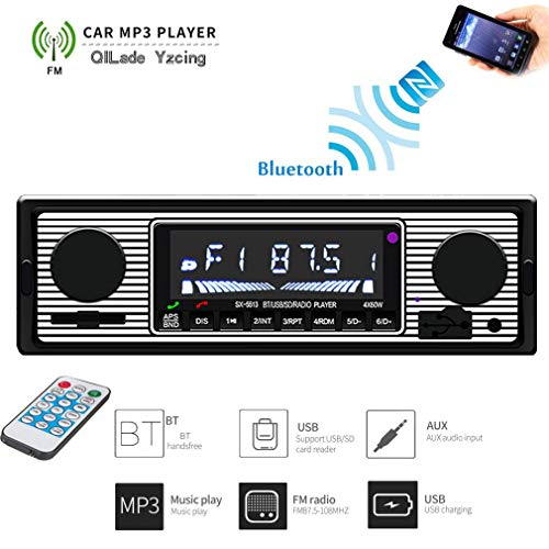Autoradio Retro Radio In Autoradios Autoradio Retro Autoradio Classic FM Bluetooth-Empfänger Audio Stereo MP3-Player Lautsprecher Kartenleser USB-Stick 1 Din Radio Tune - 178 mm * 50 mm * 68 mm