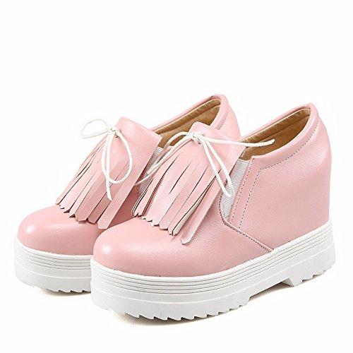 AllhqFashion Damen Schnüren Pu Rund Zehe Hoher Absatz Rein Pumps Schuhe Pink