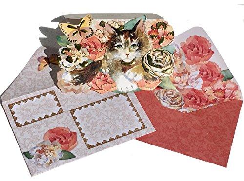 Punch Studio Box Set von 10Gold Folie, ausgeschmückt gestanzt Fancy Note Karten ~ grün Eyed Floral Kitten Cat 61538 -