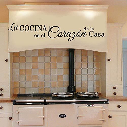 er Wandaufkleber,Spanisch Die Küche ist das Herz des Hauses Quote Wall Decal Kitchen Dinning Room Die Küche ist das Maß aller Dinge, die ein Aufkleber in den Maßen cmx bietet ()