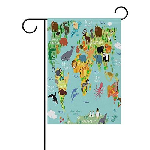 ALAZA Lion Octopus Panda Garden Yard Drapeau, Animal et Carte du Monde des Drapeaux de décoration Intérieur ou extérieur pour Maison de Ferme Banderole Murale 12 x 18 (en) 12x18(in) Multicolore