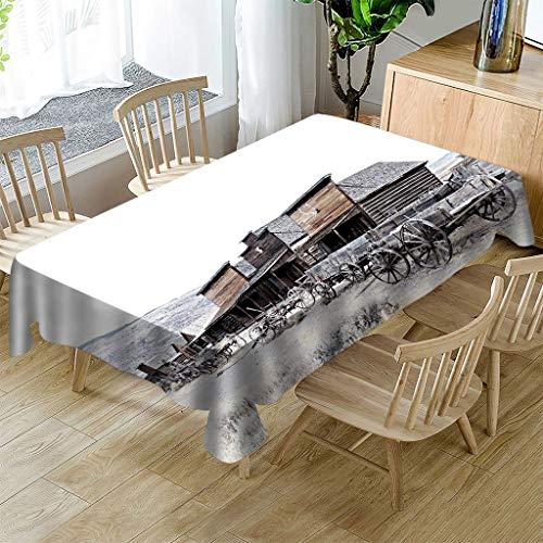 SMLJBABY Tischdecke Cover Rechteckige Wasserabweisend Tisch Decke Retro Stadt Tischwäsche 3D Drucken Tischtuch 140X220cm