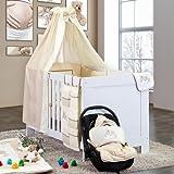 8-tlg. Bettsetpaket Joy in beige inkl. Wickelauflage, Babybettdecke und Kissen