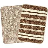 Saral Home Brown Soft Microfiber Anti-Skid Bath Mat (Pack of 2, 35x50 cm)