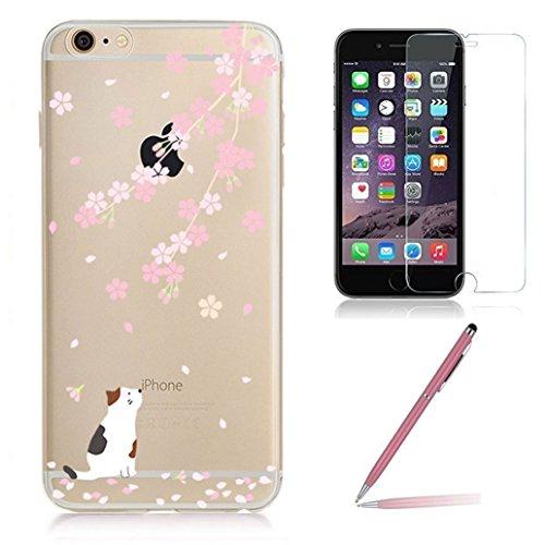 Custodia iPhone 6s [Vetro Temperato Pellicola Protettiva], Yoowei® (3 in 1) Cover iPhone 6 Ultra Sottile Trasparente TPU morbido Caso Case Cover per iPhone 6/6s 4.7