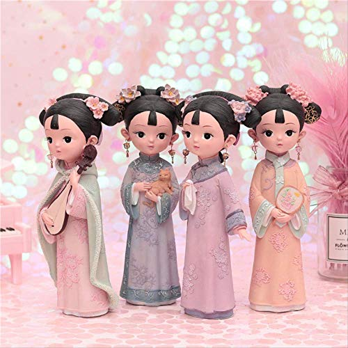 BSDSASD Decoración,Porcelain Doll Court Wind Girl Room Set Creative Birthday Gift Suitable For Sending Girlfriend Villain Retro Grid 12 x 8 x 22cm C