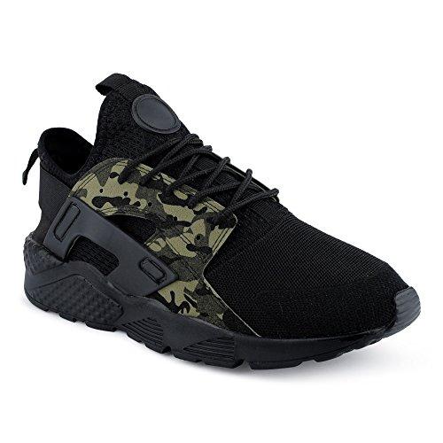 FiveSix Herren Sneaker Sportschuhe Laufschuhe Freizeitschuhe Textilschuhe Camouflage Schnürschuhe Low-Top Schuhe Grün/Camouflage EU 43 (Schuhe 233)