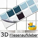 7er Set 25,3 x 3,7 cm Fliesenaufkleber blau schwarz weiß Mosaik I 3D selbstklebend Fliesen Küche Bad Wandaufkleber Fliesendekor Folie Grandora W5421