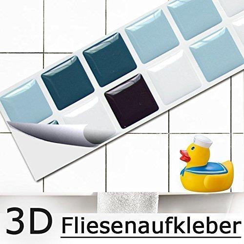 Schwarz-weiß-mosaik-fliesen (7er Set 25,3 x 3,7 cm Fliesenaufkleber blau schwarz weiß Mosaik I 3D selbstklebend Fliesen Küche Bad Wandaufkleber Fliesendekor Folie Grandora W5421)