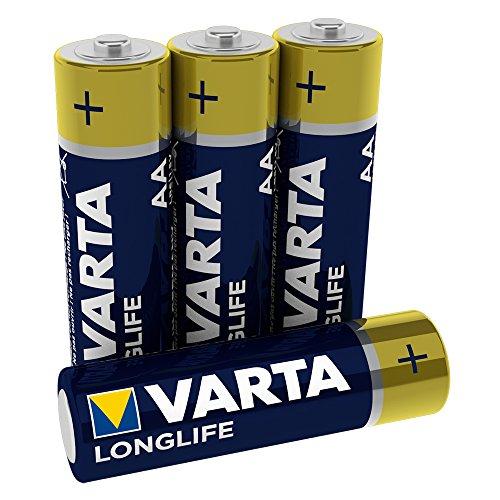 VARTA Longlife 4106101414 AA Mignon LR06 Batterie (Alkaline Batterien, ideal für Fernbedienung Radio Wecker und Uhr) 4er Pack, Blau/Gelb