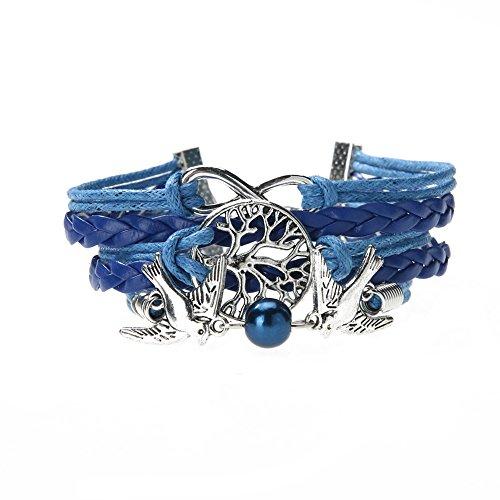 La Cabina Femme Fille Bracelet Bijou de Poignet Bangle en Perles Multicouches avec Pendentif Charmant Symbole Bonne Chance Huit Couleurs Tricot (05)