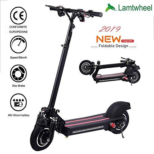 Lamtwheel Faltbarer Elektroroller E Scooter - 1200 Watt Bürstenloser Motor - 40-60 Km/H Und 50-60 Km Reichweite Mit Geländereifen - 48V / 22Ah E Roller Für Erwachsene (Elektro 300 Scooter)