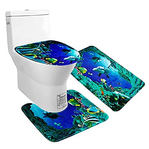 Uomere 3 Picece Non Slip Sea World Bathroom Mat Set