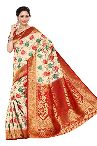 Mimosa Women's Traditional Art Silk Saree Kanjivaram Style, color :Off White(3258-R11-HW-MRN)  available at amazon for Rs.2099