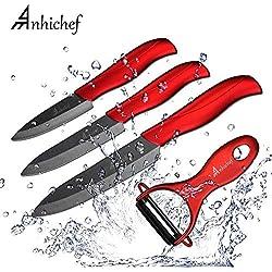 """Anhichef Coffret de 4 Couteaux en céramique avec étui de Protection- 5"""" Couteau Universel 4"""" Couteau de Fruit 3"""" Couteau à éplucher avec éplucheur pour légume et Fruit Noir..."""