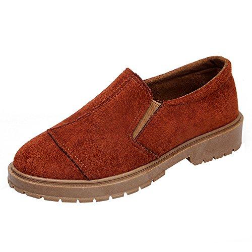 ABsoar Stiefel Damen Niedrige Ankle Boots Trim Runde Kappe Lederstiefel Casual Slip-on Martin Schuhe Herbst Schuhe Slipper