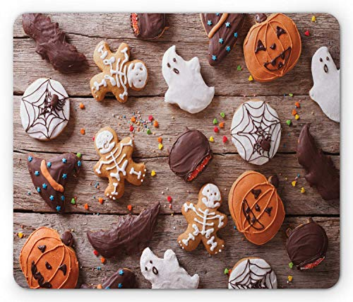 SHAQ Cookie Mouse Pad Mauspad, Sweets Covered in Chocolate Dipped in Frosting Halloween Theme Ghosts and Pumpkins, Standard Size Rectangle Non-Slip Rubber Mousepad, Multicolor (Ghost Halloween Cookies)