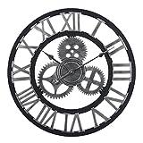 MAJOZ 60cm Horloge Pendule Murale XXXL Vintage Geante 3D Design Horloge Murales Silencieuse en Chiffres Romains pour Salon, Salle, Chambre, Cuisine, Bureau Maison Décor