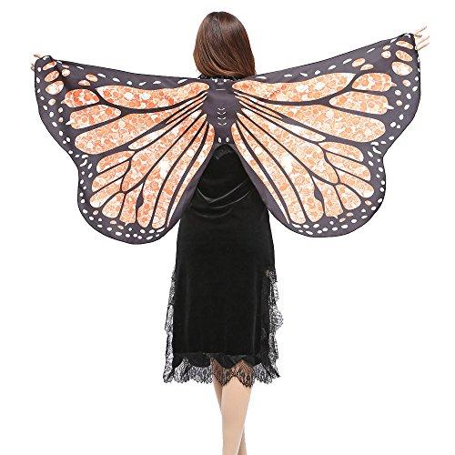 Alni Damen Karneval Kostüm Mehrere Farbe Schmetterlings Druck Kapuzenumhang Cape Schmetterlingsflügel Erwachsene Schal Cape Tuch Mit Armband Halsring(147 * 70CM)