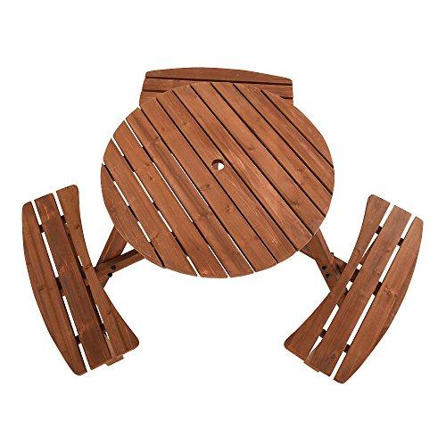 shougui trade Picknicktisch und Bank, Holz, 6-Sitzer, Terrassentisch, klassisch, runder Picknicktisch und Sitzbank, für Garten, Kneipen, drinnen und draußen, Braun - Runde Pub Höhe Tisch