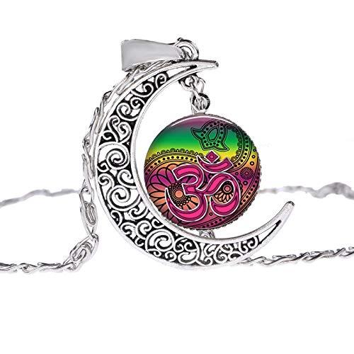 Muslime Allah Ohm Hindu Buddhistischen Aum Om Symbol Henna Halskette Blüte Mandala Glas Gem Handgemachte Hohle Mond Anhänger Halsband (Muslim Kostüm Für Männer Bilder)