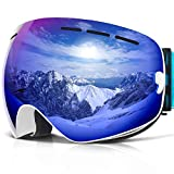 COPOZZ Ski Goggles, G1 Skiing Goggles For Snowboard Jet Snow - For Women Men Ladies Youth Teen - OTG Over Glasses Anti Fog UV Protection Helmet Compatible Interchangeable Lens Sunglasses - White Blue