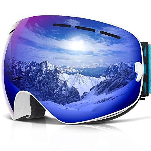 Skibrille ,COPOZZ G1 Ski Snowboard Brille Brillenträger Schneebrille Snowboardbrille Verspiegelt - Für Damen Herren Frauen Jungen - Mit Sehstärke OTG UV-Schutz Anti-Fog Blau