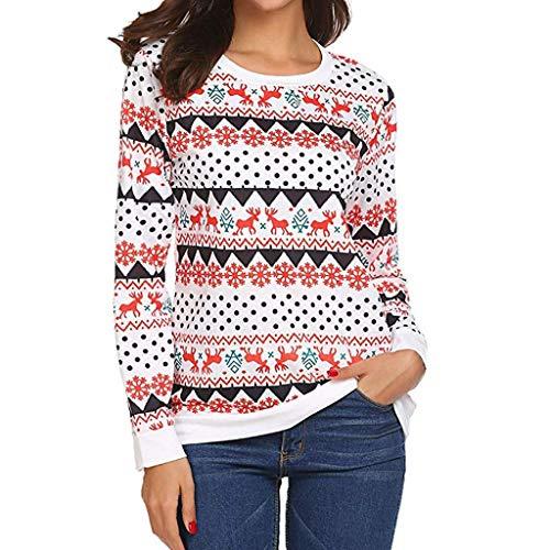 HX fashion Maglioni di Natale Tops Ladies Elk Snowflake T Shirt Chic Maglie  A Manica Lunga 3a735bcd6af4