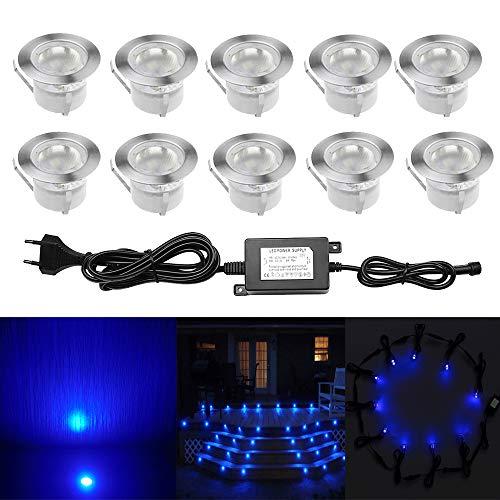 10pcs Ø45mm Luz LED Foco empotrable al Aire Libre 1W IP67 Impermeable...