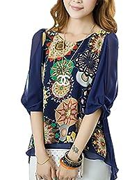 c052e17976 VLUNT Women Floral Print Loose Plus Size Back Pleated Chiffon Blouse Tops